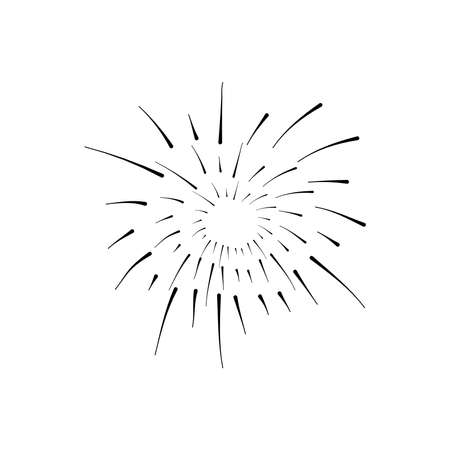 round burst of fireworks over white background, silhouette style, vector illustration