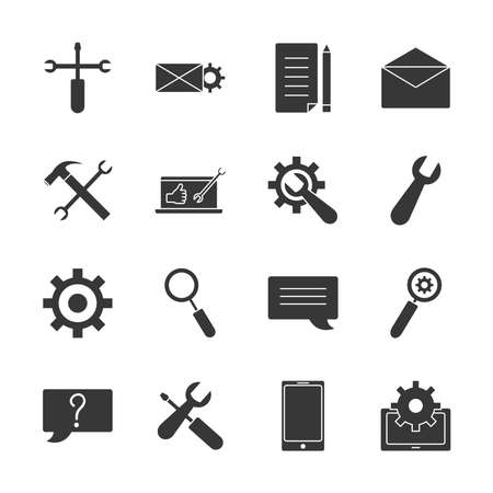 envelope and Technical service icon set over white background, silhouette style, vector illustration