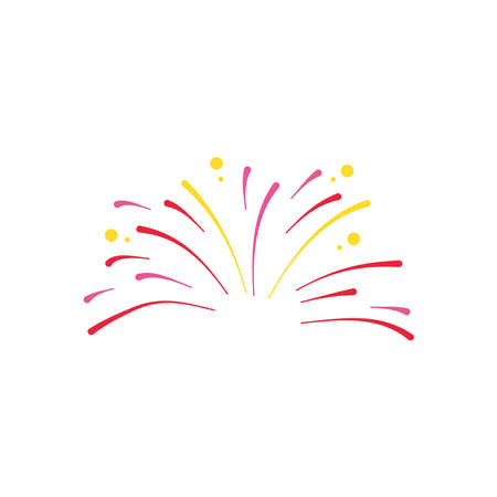 small fireworks explosion icon over white background, flat style, vector illustration