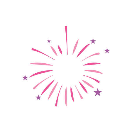 icon of burst of firework with stars over white background, flat style, vector illustration