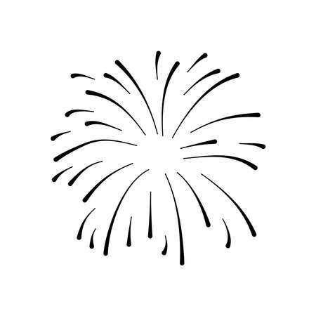 festive firework exploding icon over white background, line style, vector illustration