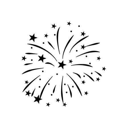 stars and striped fireworks icon over white background, silhouette style, vector illustration