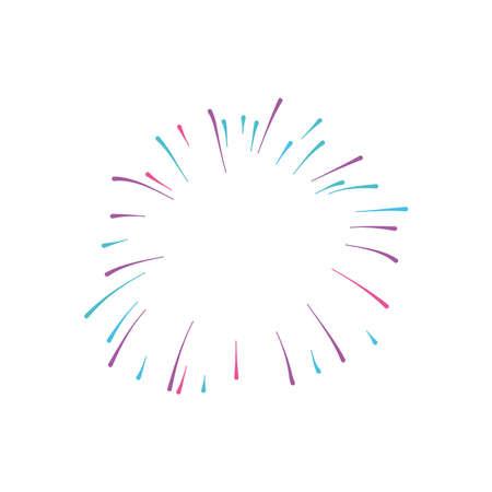 round fireworks burst icon over white background, flat style, vector illustration
