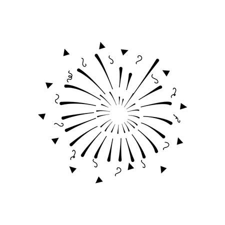 festive fireworks with stripes and triangles exploding over white background, silhouette style, vector illustration