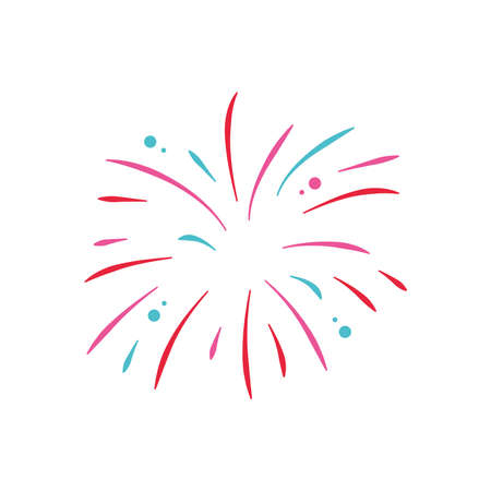 icon of explosion of firework over white background, flat style, vector illustration 向量圖像