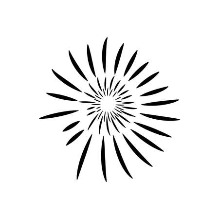 striped fireworks icon over white background, silhouette style, vector illustration 向量圖像