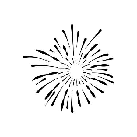 carnival fireworks icon over white background, silhouette style, vector illustration