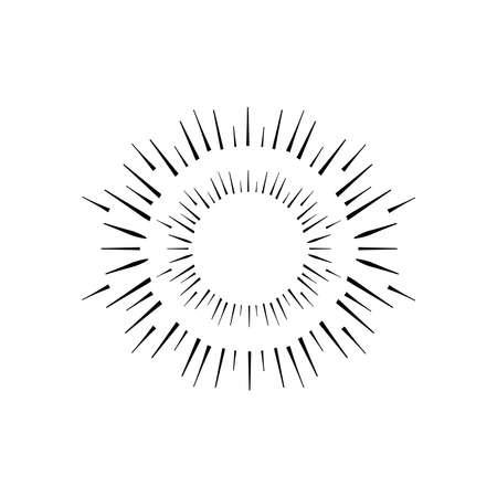 circle firework burst icon over white background, silhouette style, vector illustration
