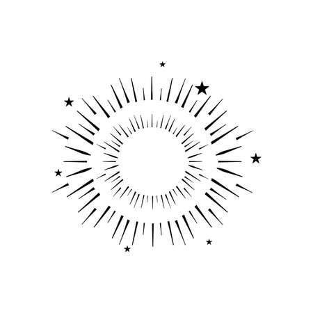 icon of round burst of firework over white background, silhouette style, vector illustration