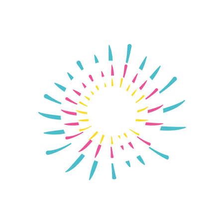 decorative striped fireworks burst icon over white background, flat style, vector illustration