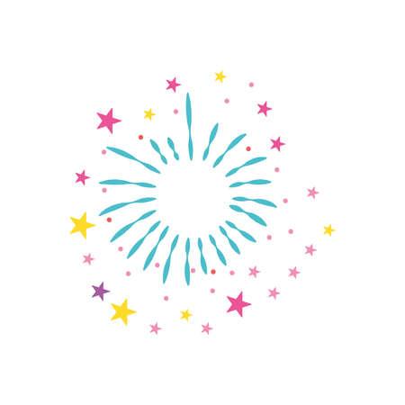 round burst of fireworks with stars over white background, flat style, vector illustration 向量圖像