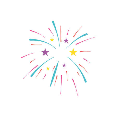stars and fireworks burst over white background, flat style, vector illustration
