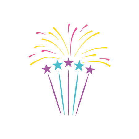 stars and firework burst over white background, flat style, vector illustration 向量圖像