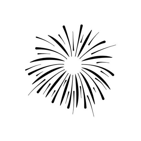 icon of burst of firework over white background, silhouette style, vector illustration