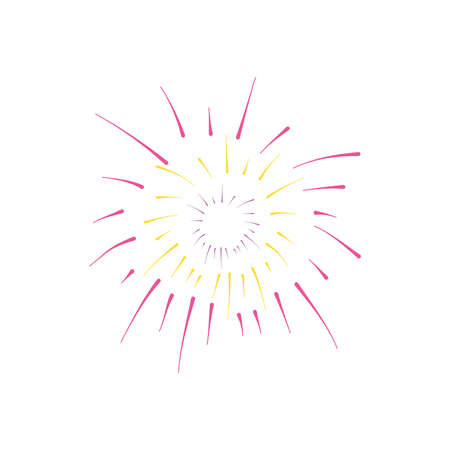 icon of round explosion of firework over white background, flat style, vector illustration
