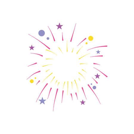stars and circles fireworks burst over white background, flat style, vector illustration 向量圖像
