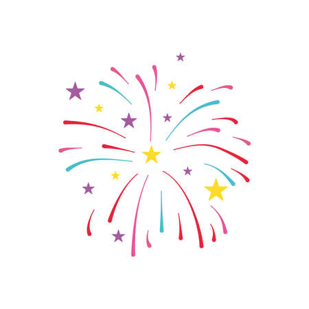 firework burst rays and stars icon over white background, flat style, vector illustration