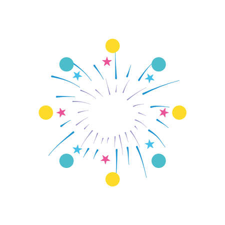 decorative circles and stars fireworks burst icon over white background, flat style, vector illustration