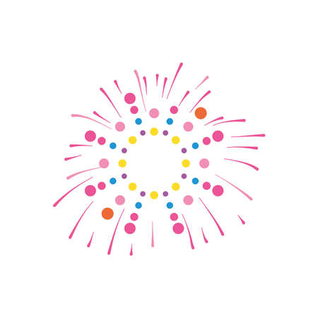 circles and striped firework explosion over white background, flat style, vector illustration
