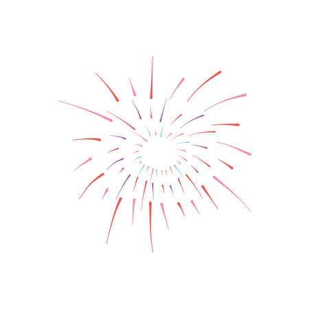 round burst of fireworks over white background, flat style, vector illustration