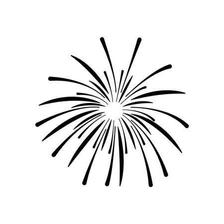 firework burst rays icon over white background, silhouette style, vector illustration