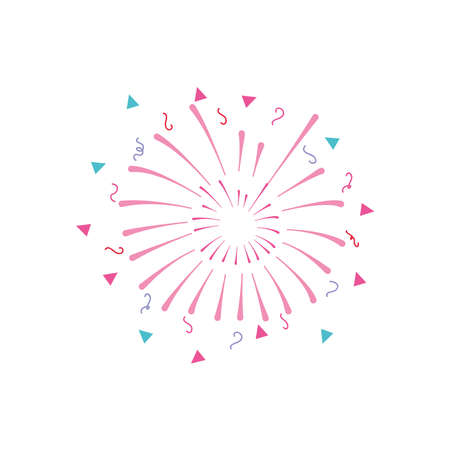 festive fireworks with stripes and triangles exploding over white background, flat style, vector illustration