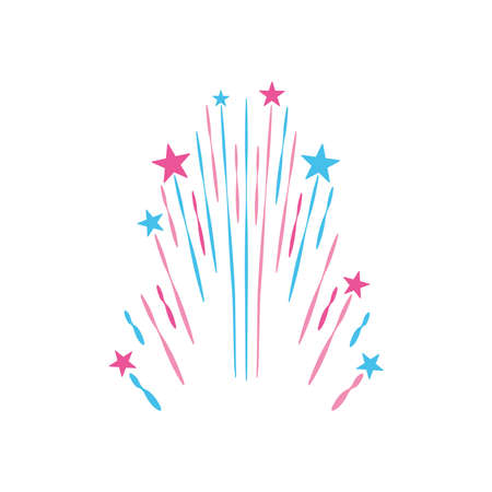 stars and striped explosion icon over white background, flat style, vector illustration