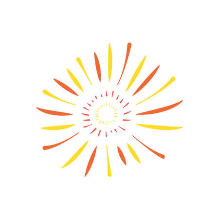 decorative sunburst firework icon over white background, flat style, vector illustration