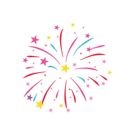 stars and striped fireworks icon over white background, flat style, vector illustration