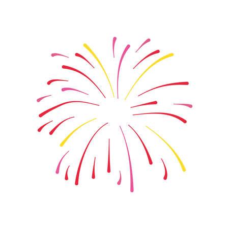 festive firework exploding icon over white background, silhouette style, vector illustration