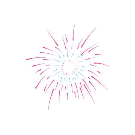 decorative fireworks burst over white background, flat style, vector illustration