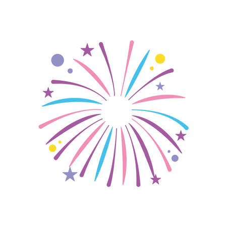 fireworks exploding with circles and stars over white background, flat style, vector illustration 向量圖像
