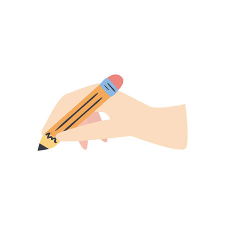 hand holding pencil line and fill style icon design, write office object instrument equipment draw art and learn theme Vector illustration