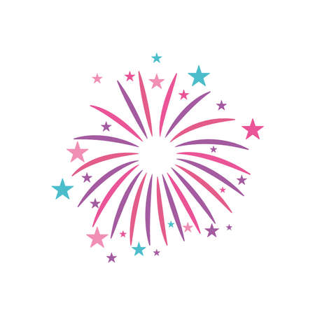 striped and stars fireworks icon over white background, flat style, vector illustration 向量圖像