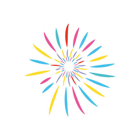 striped fireworks icon over white background, flat style, vector illustration 向量圖像