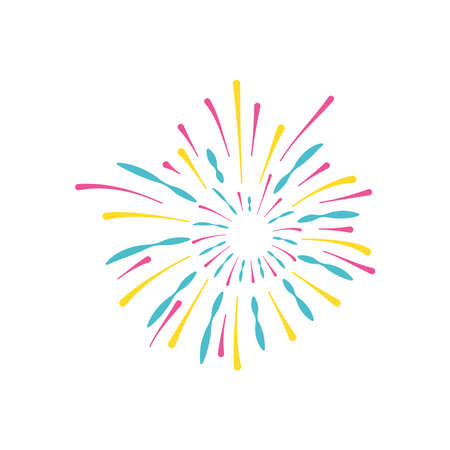 carnival fireworks icon over white background, flat style, vector illustration