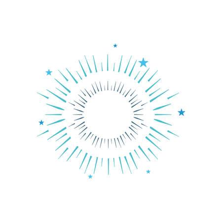 icon of round burst of firework over white background, flat style, vector illustration