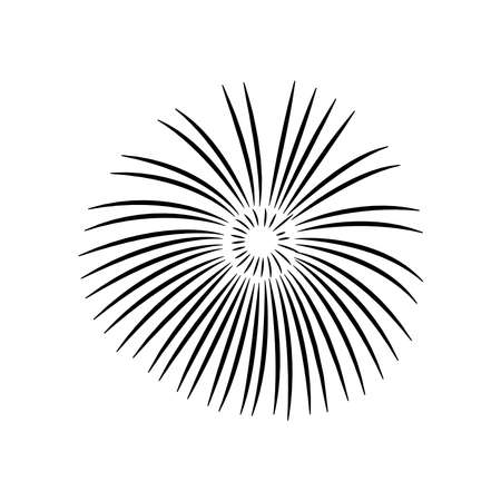 Firework burst rays icon over white background, silhouette style, vector illustration 向量圖像