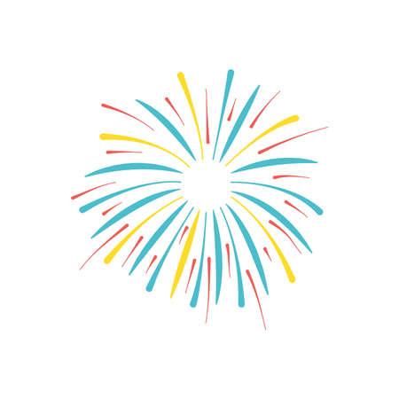 icon of burst of firework over white background, flat style, vector illustration
