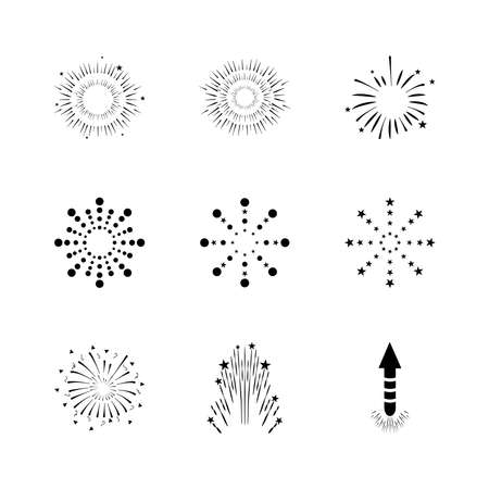 fireworks explosion icon set over white background, silhouette style, vector illustration