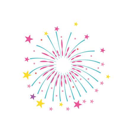 stars fireworks exploding over white background, flat style, vector illustration 向量圖像