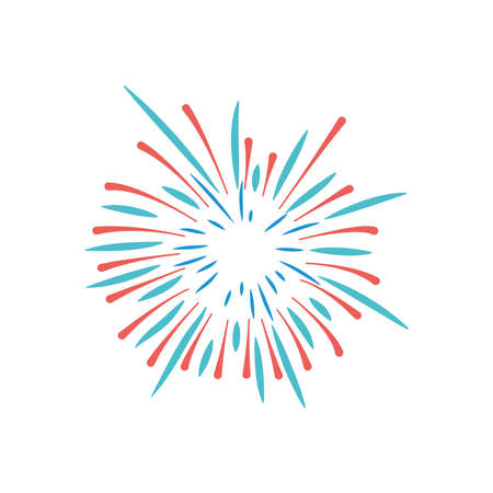 icon of fireworks explosion over white background, flat style, vector illustration