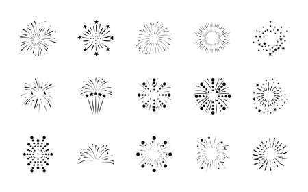 icon set of fireworks explosion over white background, silhouette style, vector illustration