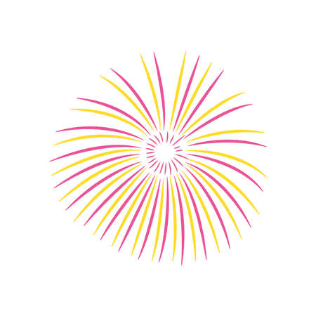 Firework burst rays icon over white background, flat style, vector illustration