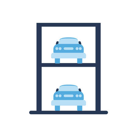 parking garage road sign and car flat style icon design, Park and transportation theme Vector illustration