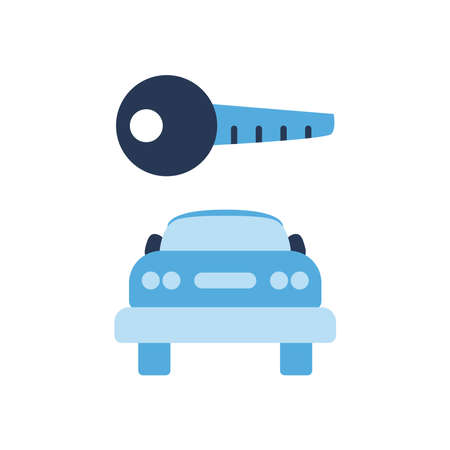 parking road sign and car flat style icon design, Park and transportation theme Vector illustration