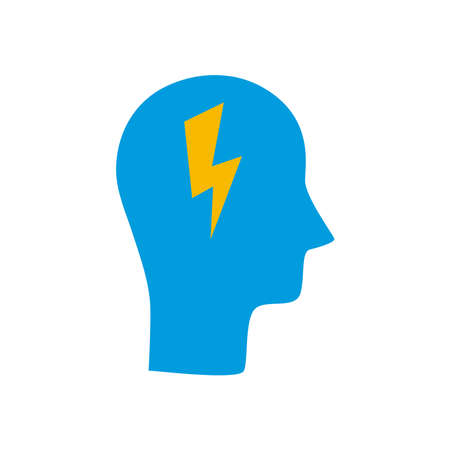 head with thunder line and fill style icon design, Idea creativity genius and imagination theme Vector illustration Stock Illustratie