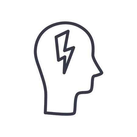 head with thunder line style icon design, Idea creativity genius and imagination theme Vector illustration Stock Illustratie