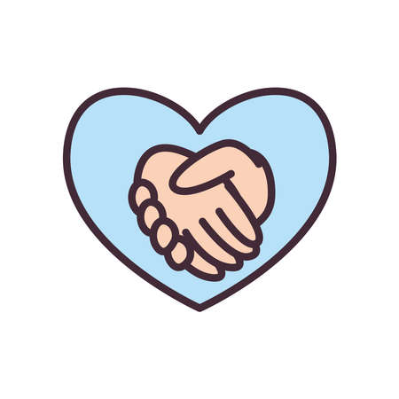 volunteer hands shake in heart line and fill style icon design of Charity and donation theme Vector illustration