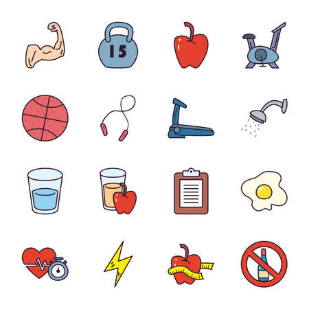 line and fill style icon set design, healthy sport and activity theme Vector illustration